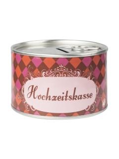 Hochzeitskasse Spardose rot-pink 10,5x6cm