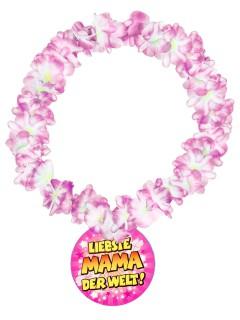 Hawaii-Blumenkette Liebste Mama der Welt bunt 14cm