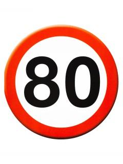 80. Geburtstag Glückwunsch-Karte mit Umschlag weiss-rot 14cm
