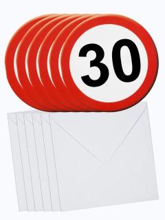30. Geburtstag Einladungs-Karten mit Umschlag 6 Stück weiss-rot 14cm