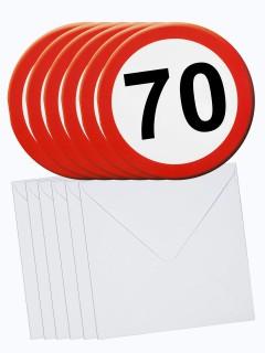 70. Geburtstag Einladungs-Karten mit Umschlag 6 Stück weiss-rot 14cm