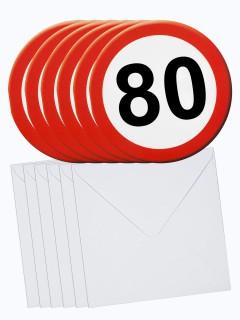 80. Geburtstag Einladungs-Karten mit Umschlag 6 Stück weiss-rot 14cm