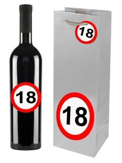18. Geburtstag Geschenktüte mit Aufklebern silber-rot-weiss 12x35cm