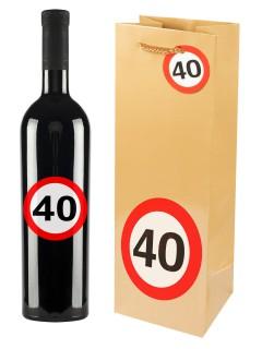 40. Geburtstag Geschenktüte mit Aufklebern gold-rot-weiss 12x35cm