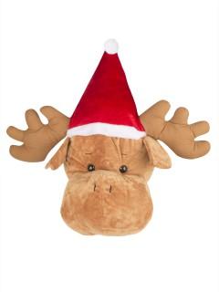 Riesige Elch-Mütze Weihnachten beige-rot-weiss
