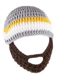Strickmütze mit Bart für Kinder bunt