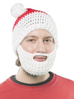 Strickmütze mit Bart Weihnachtsmann rot-weiss
