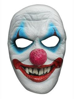 Horror Clown Halloween Latex-Maske Zirkus weiss-bunt