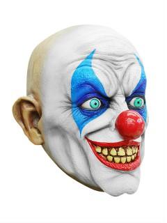 Grinsender Horror Clown Halloween Latex-Maske Zirkus weiss-bunt
