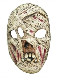 Zombie Mumie Halloween Latex-Maske Halbmaske Untoter grün-beige
