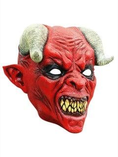 Blutrünstiger Teufel Halloween Latex-Maske Dämon rot-schwarz