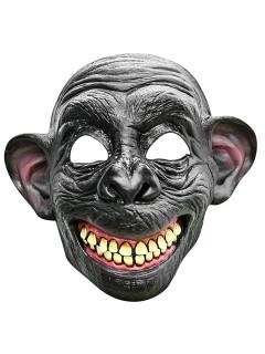 Grinsender Affe Latex-Maske Halbmaske grau