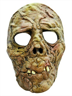 Modriger Zombie Halloween Latex-Maske Halbmaske Untoter grün-braun