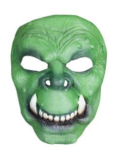 Ork Halloween Latex-Maske Halbmaske Troll grün-beige