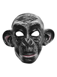 Affe Karneval Latex-Maske Halbmaske Schimpanse schwarz