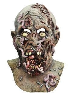 Verwurmter Zombie Halloween Latex-Maske Untoter grau