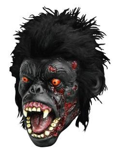Blutiger Zombie Gorilla Halloween Latex-Maske Affe schwarz-rot