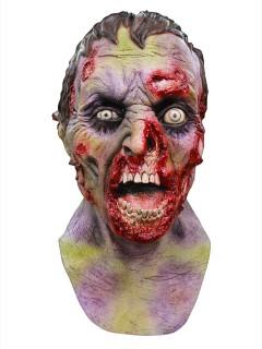 Modriger Zombie Halloween Latex-Maske hautfarben-grün-rot