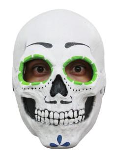 Mexikanischer Totenschädel Halloween Latex-Maske Sugar Skull weiss-bunt