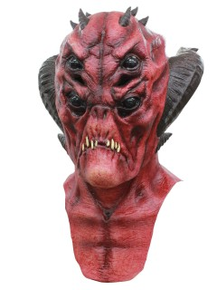 Gehörnter Teufel Halloween Latex-Maske Höllen-Monster rot-schwarz