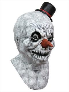 Fieser Zombie-Schneemann Halloween Latex-Maske weiss-rot