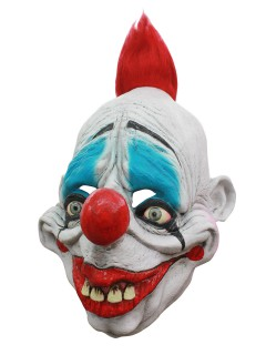 Lachender Clown Halloween Latex-Maske Zirkus weiss-rot