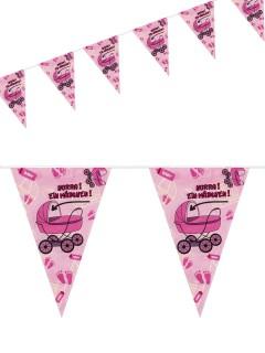 Wimpel-Girlande Hurra ein Mädchen Geburtstag pink-weiss 10m