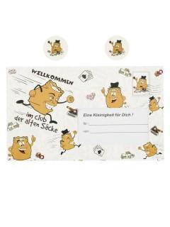 Briefumschlag Alte Säcke für Geldgeschenk schwarz-weiss-braun 18x30cm