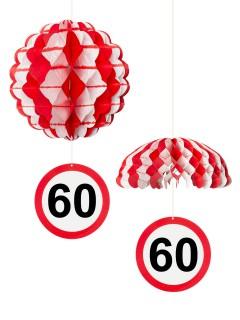 60. Geburtstag Waben-Partydeko weiss-rot 25cm