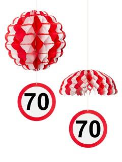 70. Geburtstag Waben-Partydeko weiss-rot 25cm