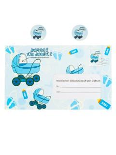Briefumschlag Hurra ein Junge Geldgeschenk zur Geburt blau-weiss 18x30cm