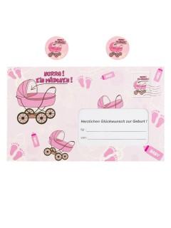 Briefumschlag  Hurra ein Mädchen  Geldgeschenk pink 18x30cm
