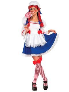 Süsses Rag Doll Püppchen Damenkostüm weiss-blau-rot