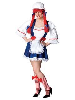 Süsses Rag Doll Püppchen Damenkostüm übergrösse weiss-blau-rot