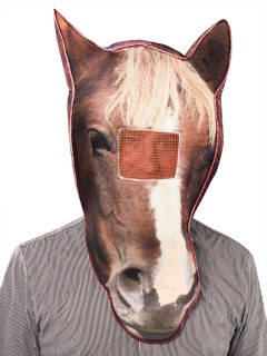 Fotorealistische Pferde-Maske braun-weiss