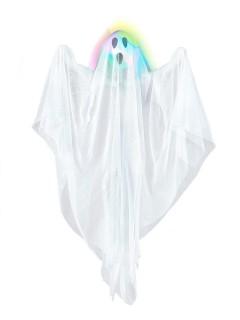 Gruseliger heulender Geist mit Leuchtfunktion Halloween-Hängedeko weiss-bunt 60cm