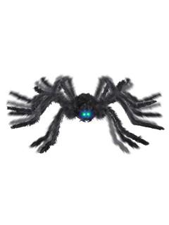 Schaurige Riesenspinne animiert mit Leuchtaugen und Sound Halloween-Party-Deko schwarz 90cm