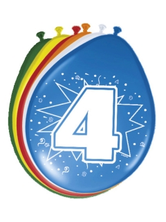 4. Geburtstag Luftballons Party-Deko 8 Stück bunt 30cm