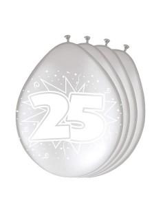 25. Geburtstag Luftballons Party-Deko 8 Stück silber-weiss 30cm