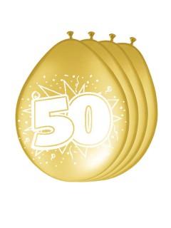 50. Geburtstag Luftballons Party-Deko 8 Stück gold-weiss 30cm