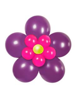 Luftballon-Blume Party-Deko Set zum Basteln 17-teilig violett-pink 70cm
