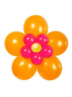 Luftballon-Blume Party-Deko Set zum Basteln 17-teilig orange-pink-gelb 70cm