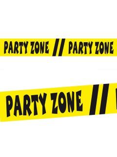Absperrband Party-Zone Party-Deko gelb-schwarz 15m
