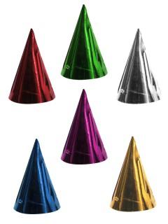 Glänzende Party-Hüte für Kinder 6 Stück bunt 15cm