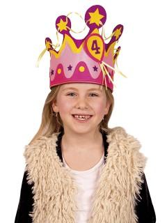 Kindergeburtstags-Krone mit Zahlen Party-Zubehör pink-gelb
