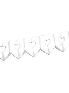 Hochzeit Girlande Herzen Valentinstag Party-Deko weiss 600x17cm