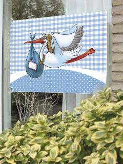 Fenster-Fahne Klapperstorch Geburtstag Party-Deko blau-weiss 90x60cm