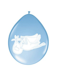 Klapperstorch Luftballons Geburtstag Partydeko 8 Stück blau-weiss 30 cm