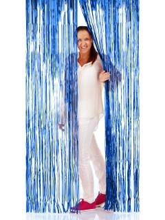 Glänzender Türvorhang Party-Deko blau 2x1m