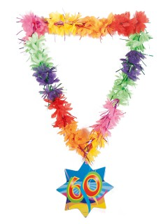 60. Geburtstag Hawaii-Kette Jubiläum bunt 45cm